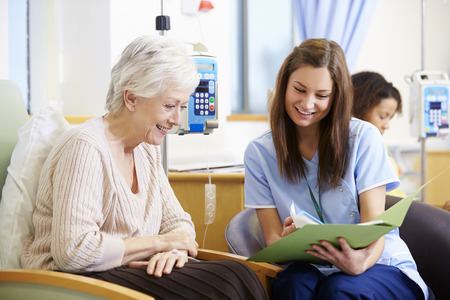 Senior Woman Undergoing Chemotherapy With Nurse Stock Photo