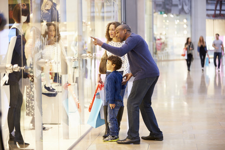 family with three children: Child On Trip To Shopping Mall With Parents