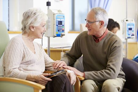 chemotherapy: Senior Woman With Husband During Chemotherapy Treatment