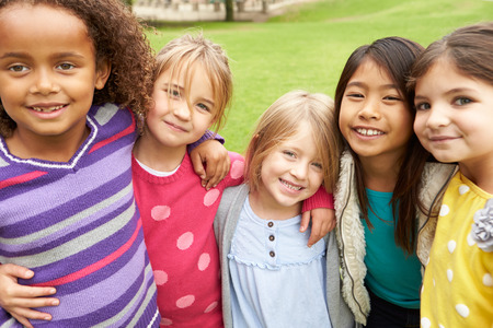 5 6 years: Group Of Young Girls Hanging Out In Park Together