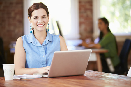 paper work: Woman Working At Laptop In Contemporary Office Stock Photo