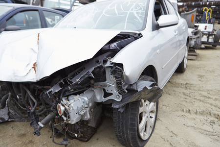 horizontal: Damaged Car Involved In Traffic Accident