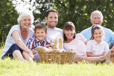 멀티 세대 가족은 시골에서 피크닉을 즐기기