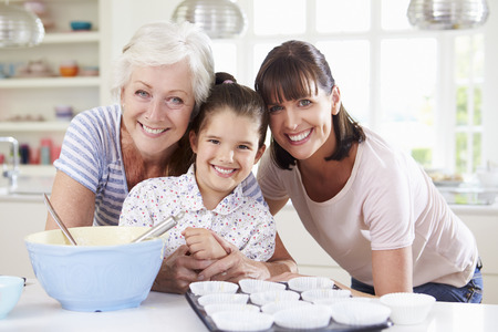 3 generation: Grandmother, Granddaughter And Mother Baking Cake In Kitchen