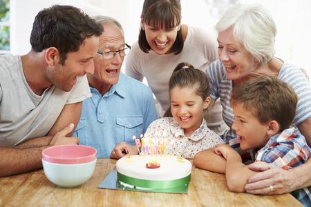 multi generation: Multi Generation Family Celebrating Daughters Birthday