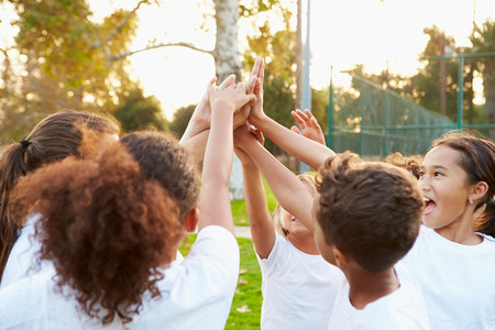 female soccer: Youth Football Team Training Together