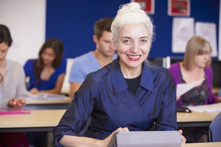 further education: Mature Students In Further Education Class