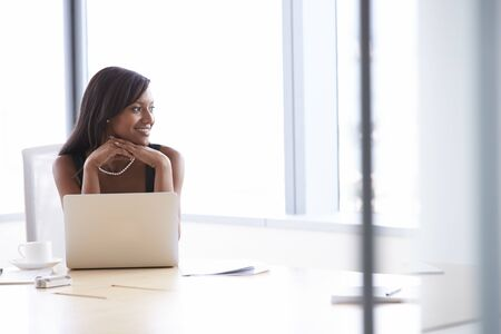 woman work: Businesswoman Working On Laptop At Boardroom Table