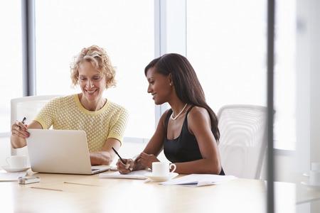 gente sentada: Dos empresarias que trabajan juntos en la computadora port�til en la sala de reuni�n Foto de archivo