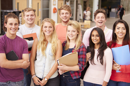 eight years old: Group Portrait Of College Students Stock Photo