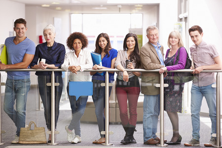 further education: Portrait Of Mature Students On Further Education Course Stock Photo