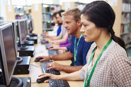 asian adult: Group Of Mature Students Working At Computers Stock Photo