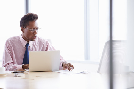 african business: Businessman Working On Laptop At Boardroom Table
