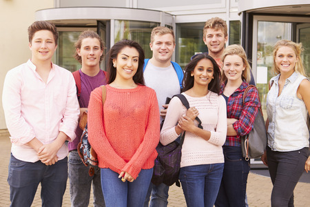 19 years old: Group Portrait Of College Students With Tutor