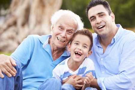 adult offspring: Grandfather With Grandson And Father In Park