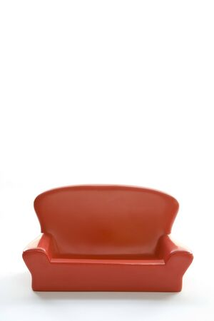 comfort room: Model Red Sofa On White Background Stock Photo