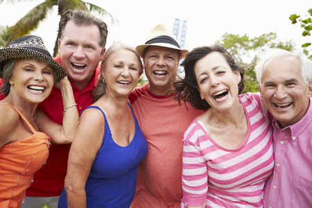 active senior: Portrait Of Senior Friends In Park Together Stock Photo