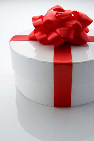 gift wrapped: White Box Gift Wrapped With Red Bow
