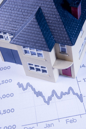 negative equity: Model House With Declining Graph