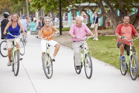 senior group: Group Of Senior Friends Having Fun On Bicycle Ride