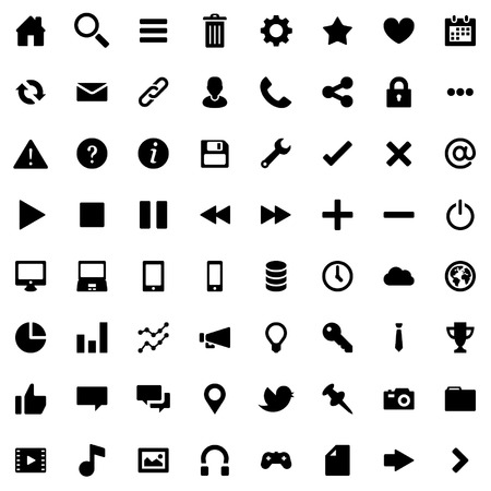 64 Flat Vector Icons for Web Business and Social