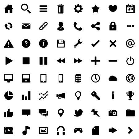 64 Piso de vectores iconos para web de las empresas y Social Foto de archivo - 52666364