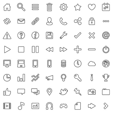 64 Outline Vector Icons for Web Business and Social Illustration
