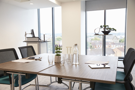 Table In Empty Office Meeting Room Stock Photo