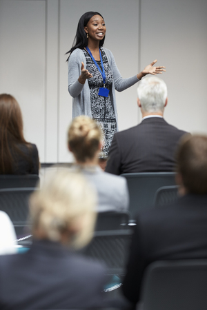 Businesswoman Making Presentation At Conference Stock fotó