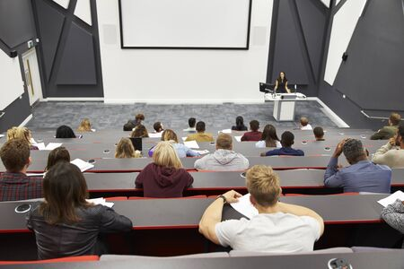 lecture theatre: Lecture at university lecture theatre, audience POV Stock Photo