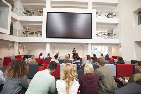 view of an atrium in a building: Back view of students at a lecture in a university atrium