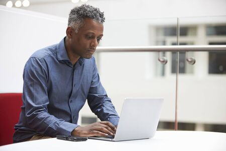 Middle aged black man using laptop in a modern interior