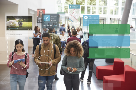Millennials Using Social Media With Copy Space Archivio Fotografico