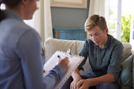 Teenage Boy With Problem Talking With Counselor At Home