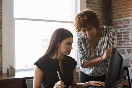Dvě podnikatele pracující na počítači v kanceláři