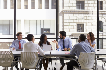 Corporate business team meeting in a modern open plan office Stock Photo - 71279421