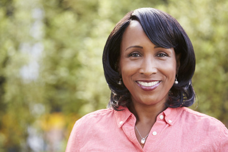 Smiling senior African American woman, horizontal, portrait Stock Photo