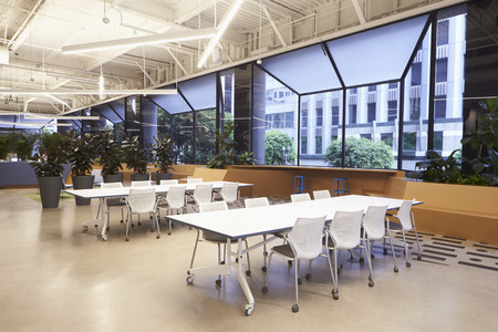 cafeterias: Seating in empty corporate business cafeteria, Los Angeles Stock Photo