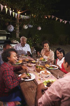 Adulte famille noire profiter d'un dîner ensemble dans le jardin, vertical