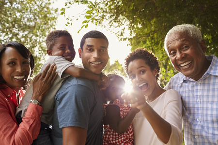 Multi generatie zwarte familie in de tuin kijken naar de camera