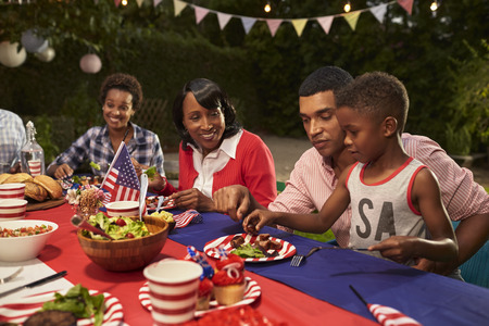 Multi generatie zwarte familieleden bij een 4 juli barbecue