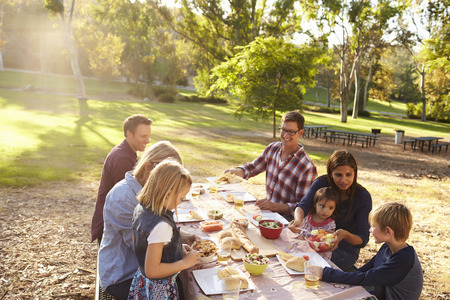 flare up: Two families having a picnic together at a table in a park Stock Photo