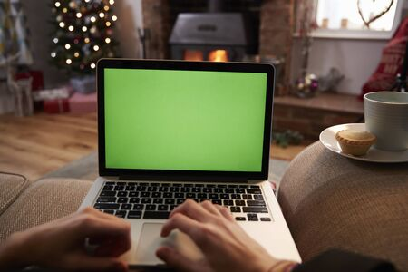 point of view: Man Using Laptop In Room Decorated For Christmas Stock Photo