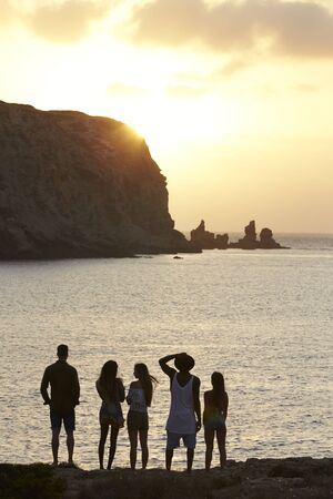 Rear View Of Friends Standing On Cliff Watching Sunset