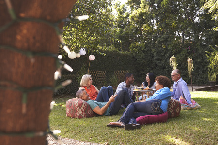 Group Of Mature Friends Enjoying Drinks In Backyard Together