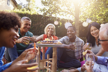 african american woman: Group Of Mature Friends Enjoying Drinks In Backyard Together