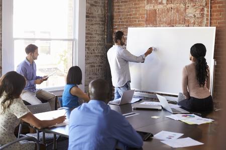 Businessman At Whiteboard In Brainstorming Meeting