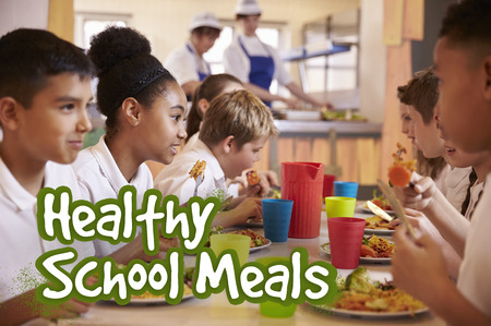 Primary school children eat healthy school meals