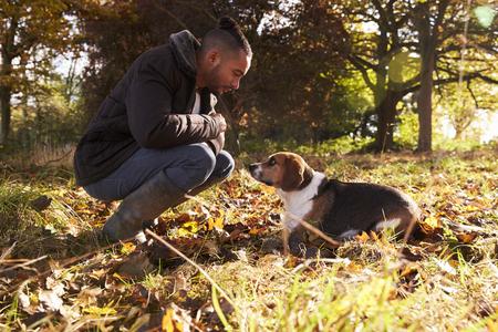 若い男秋の森運動犬