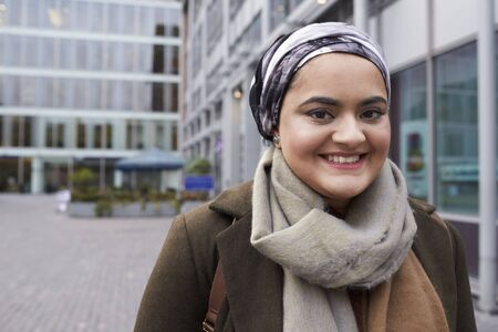 Portrait Of British Muslim Businesswoman Outside Office Stock Photo